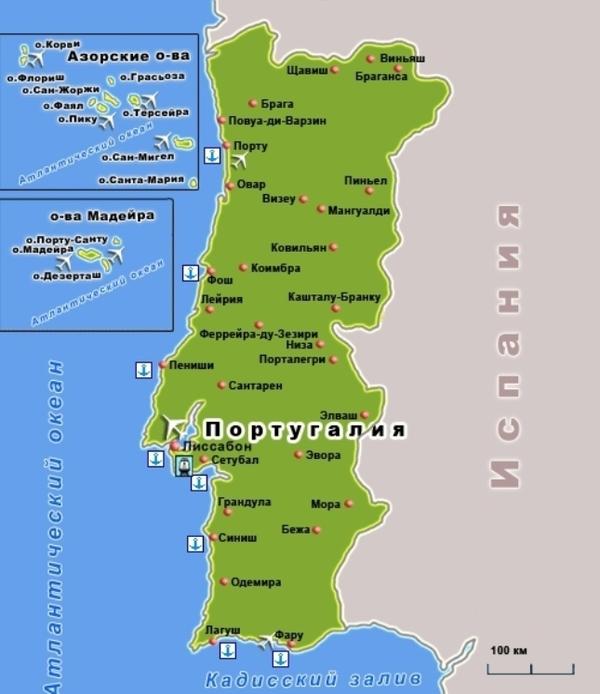 Португалия на карте мира фото